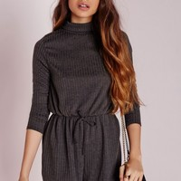 Missguided - Ribbed Long Sleeve Playsuit Grey