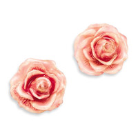 Lacquer Dipped Pink Real Rose Post Earrings