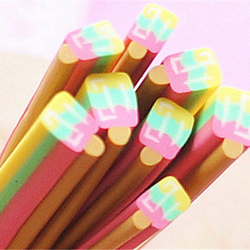Yellow Ice Cream Polymer Clay Cane Stick for  Food/Fruit/Flower/Sugar Miniature Phone Decoration Nail #P51