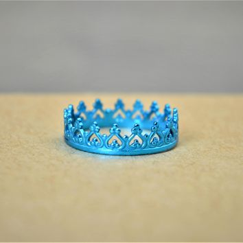Dainty Nano Ceramic Sterling Silver Princess Crown Ring