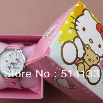 Hello Kitty watches girl KT cat Christmas gifts children watch 1pcs/lot