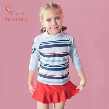 AONIHUA Designer 2017 New Colorful Striped Two piece Swimsuit for Girls kids swimwear summer Children long sleeve bathing suit