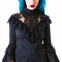 Lip Service Step In Time Lace Button Up Shirt Black