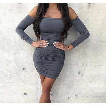 Kimmy K Off-the-Shoulder Fitted Dress