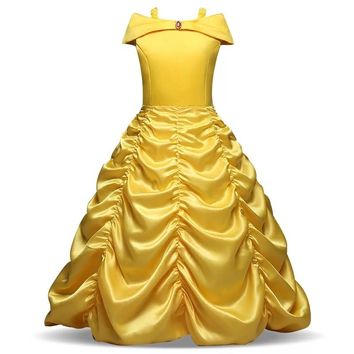 Halloween Beauty Beast Costume Child Girls Deluxe Princess Belle Dress Yellow Long Dress Cosplay Party Fancy Ball Outfit Girls