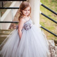 [60.99] Charming Tulle Spaghetti Straps Ball Gown Flower Girl Dresses With Handmade Flower - dressilyme.com