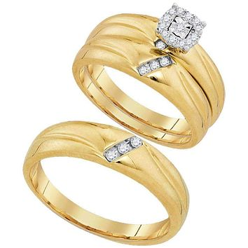 10kt Yellow Gold His & Hers Round Diamond Solitaire Matching Bridal Wedding Ring Band Set 1/5 Cttw - FREE Shipping (US/CAN)