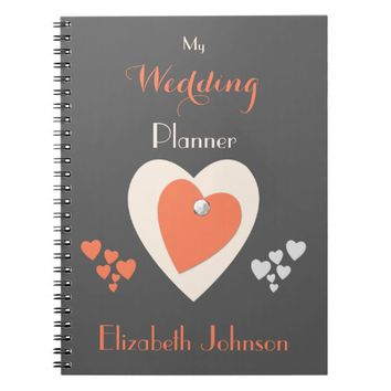 Wedding planner Notebook / orange and gray