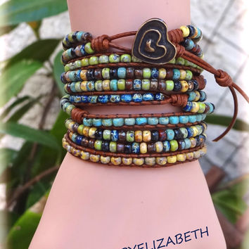 Handcrafted Picasso Seed Bead Leather Wrap Bracelets, Five Wrap Seed Bead Bracelets.