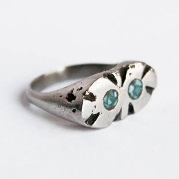 Silver Artifact Ring w/ Turquoise Inlay, Sterling Ring w/ Crushed Turquoise, Silver and Turquoise, Casted Rings, Sculptural Rings