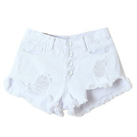 White High Waist Button Ripped Denim Shorts