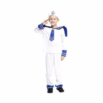 MOONIGHT Halloween Costumes Sailor Boys Costume Carnaval Cosplay Navy Halloween Costume For Children Party Clothes Suit