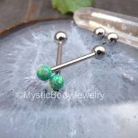 "Cheek Piercing Ring Green Opal Nipple Barbell 14g Nipples Dimple Tongue Piercings 5/8"" Opals Internally Threaded Barbells Body Jewelry Ball 
