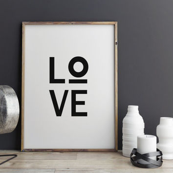 Printable Art Instant Download Love Modern Wall Art Typography Digital Download Minimal Design Marble Print White Marble TYPOGRAPHY PRINT