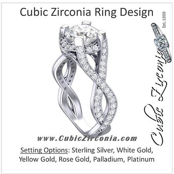 Cubic Zirconia Engagement Ring- The Jenna Riley (1.50 Carat Round Cut with Twisted Pavé Split Band, Under-halo, and Prong Accents)