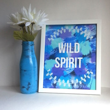 Hippie Bohemian wild spirit 8.5 x 11 inch art print for baby nursery, dorm room, or home decor