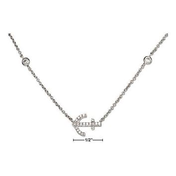 """Sterling Silver Necklace:  16""""-18"""" Adjustable Micro Pave Cubic Zirconia Sideways Anchor Necklace"""
