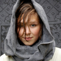 vespertine organic fleece hood cowl by enhabiten on Etsy