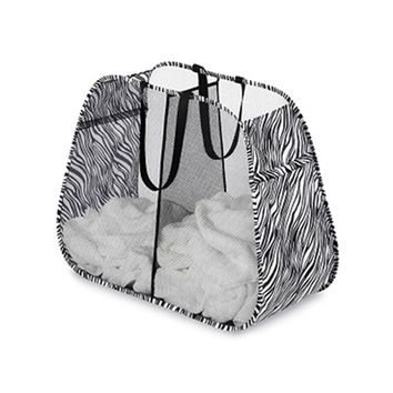 Zebra Pop and Fold Double Hamper Laundry Organization College Stuff Cool Dorm Laundry Supplies Fun Dorm Stuff