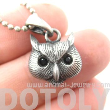 Owl Bird Animal Charm Necklace in Silver | Animal Jewelry