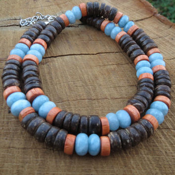 Mens Necklaces, Men Surfer Necklace, Natural Wood Bead Coconut Beads Aquamarine Beaded Necklace,Mens Choker Necklace,