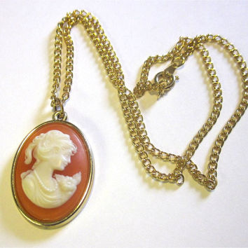 Vintage Style Cameo Necklace Gold Orange Coral Lady Victorian Flatback Setting Jewelry Resin