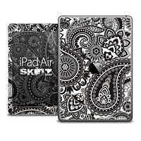 The Black and White Paisley Pattern Skin for the iPad Air