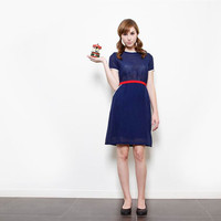 Casual Navy Blue Dress with Short Sleeves, Retro Uniform Style Summer Dress