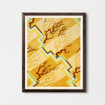 Abstract Art Printable, Mid Century Modern Art, Living Room Wall Art, Kids Room Decor, Pochoir Art, Summer Wall Art, Desert Lithograph Séguy