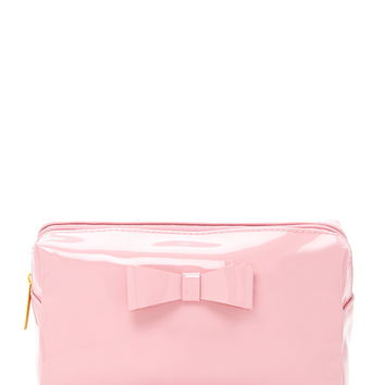 Faux Patent Leather Makeup Bag
