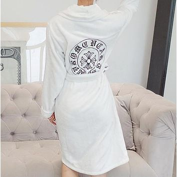 """Chrome Hearts""Autumn Winter New Sexy Women Embroidery Comfortable Coral Fleece Bathrobe Night-Robe White"