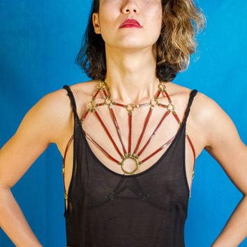 Red Leather and Brass Radial Cage Bralette | Geometric Body Necklace | Strappy Cage Harness | Leather and Brass Chest Piece