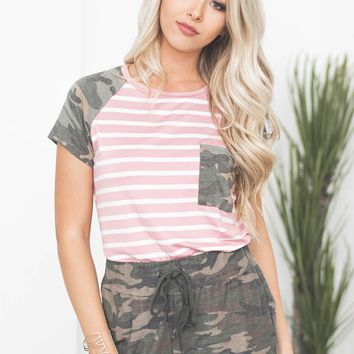 Striped Pocket Camo Sleeve Top