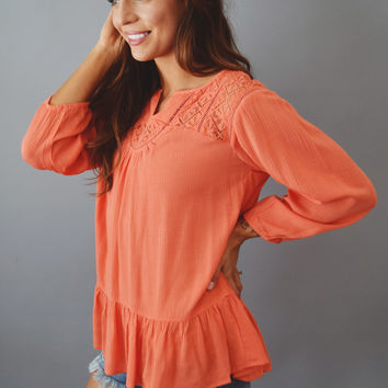 Meridian Embroidered Top Coral