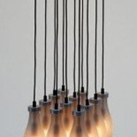 Chandelier Milk Bottle Chandelier 12 Lamps - Droog Milk Bottle Lamp