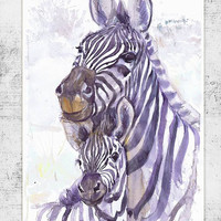 Zebra with a toddler, wildlife, watercolor, wall decor, animal art, art print, nursery decor, mothers day gift, children art, Illustration