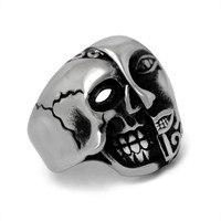 Shiny Jewelry Gift New Arrival Stylish Strong Character Punk Double Sided Skull Fashion Titanium Ring [6544845571]