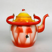 RESRVED Vintage Enamel Teapot / Kettle / Yellow and Red