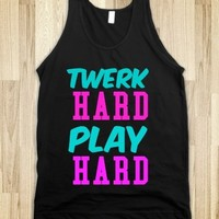 Supermarket: Twerk Hard Play Hard Tank Top from Glamfoxx Shirts