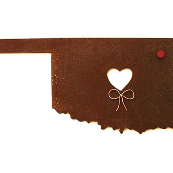 Oklahoma State Map Metal Wall Art Sculpture - State Sculpture - State Silhouette - State Decor - Rustic - Rusty