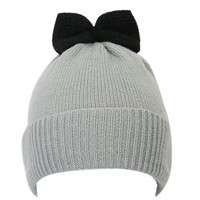 Grey Bowknot Embellished Beanie Hat
