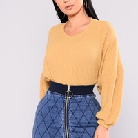 Flora Puffy Sleeves Top - Mustard