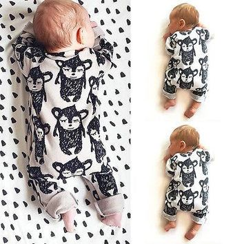 new spring autumn Baby Rompers Fleece toddler Flower Monkey Newborn Boy Girl Romper Clothing Overalls Ropa Bebes Jumpsuit fall