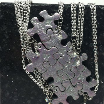 Puzzle Piece Necklace Set  of 7 Bridesmaid or Best Friend Pendants Polymer Clay with Swarovski Crystals Made to order