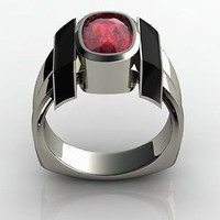 AMAZING 3.23CT RED OVAL 925 STERLING SILVER ENGAGEMENT AND WEDDING RING