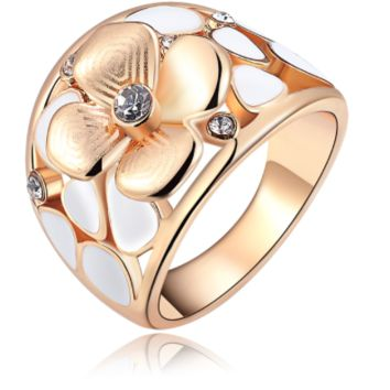 Rose Gold Enamel Flower Ring