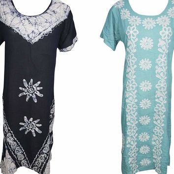 Mogul Interior 2pc Womens Summer Coverup Caftan Batik Embroidered Half Sleeves Loosefit Long Dress L