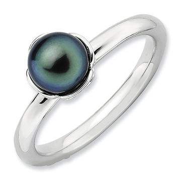 Stackable Expressions™ 6.0-6.5mm Cultured Tahitian Pearl Ring in Sterling Silver