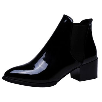 new fashion Women boots Sexy Boots Women Ankle Boots Elasticated Patent leather pointed toe Low heel ankle boots