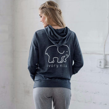 Grey Zip Up Embroidered Hoodie